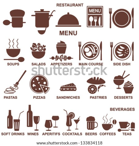 Restaurant menu silhouettes - stock vector
