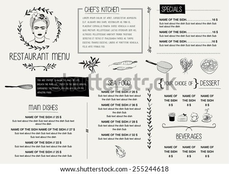 RESTAURANT MENU TEMPLATE. Vector illustration file with editable graphic design elements: typography, dividers, frames, illustrations, decorative elements, icons, symbols etc. - stock vector