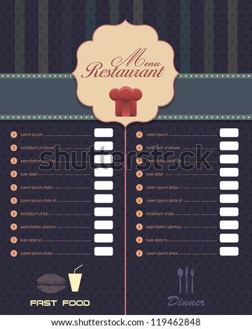 Restaurant Menu Vector Design - stock vector