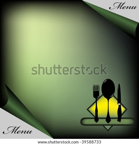 Restaurant menu with fork, spoon and knife symbols. Restaurant menu concept - stock vector