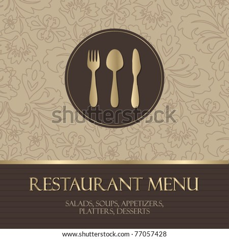 Restaurant menu, with gold details - stock vector