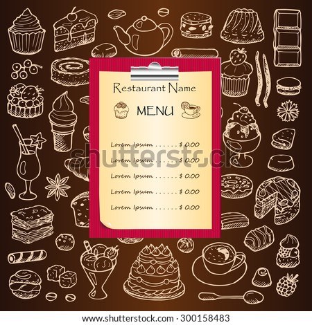 Restaurant menu with hand drawn doodle elements and clipboard. Vector illustration for menu, posters, prints, banners, web design, covers