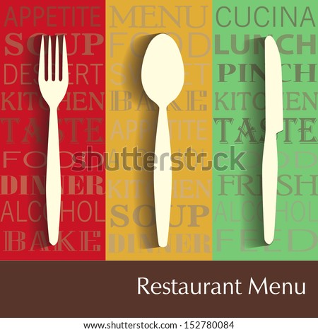 Restaurant menu with table subjects. - stock vector
