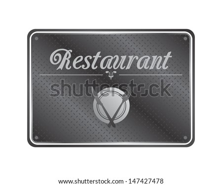 restaurant metal plate sign template silver - stock vector