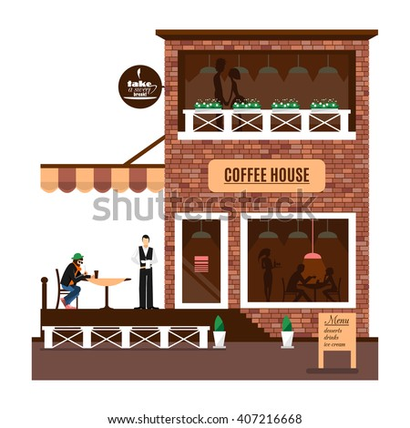 Restaurant or cafe illustration. Flat cafe. Cafe icon. Cafe building. Vector cafe icon. Cafe design. Cafe facade. Cafe icon. Cafe waiter. Cafe icon background. Cartoon cafe. Cute cafe. Brick cafe icon - stock vector