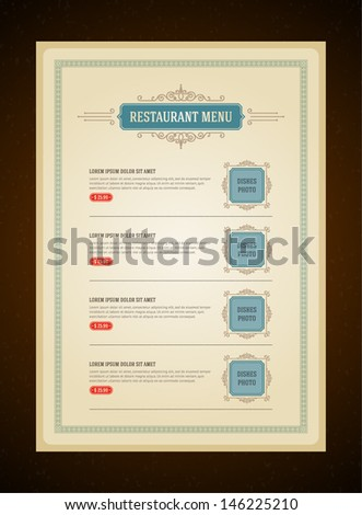 Restaurant or cafe menu vector design template vintage style. Flourishes calligraphic.  - stock vector