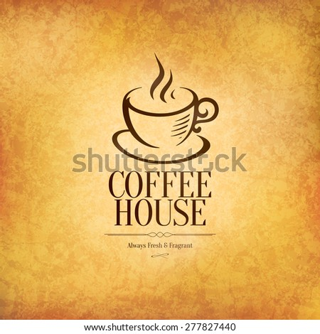Restaurant or coffee house menu design. Vector brochure template for cafe, coffee house, tea, restaurant, bar. Food and drinks logotype. Coffee symbols. Coffee cup design, vintage crumpled background - stock vector