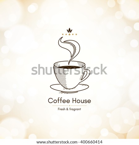 Restaurant or coffee house menu design. Vector brochure template for cafe, coffee house, tea, restaurant, bar. Food and drinks logotype. Coffee symbols. Coffee cup design on blurred vintage background - stock vector