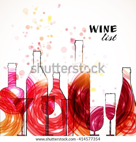Restaurant or wine bar menu template. Sketch colorful design. Vector illustration. - stock vector