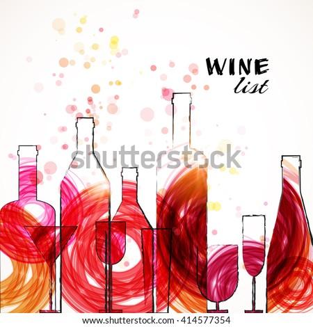 Restaurant or wine bar menu template. Sketch colorful design. Vector illustration. - stock vector