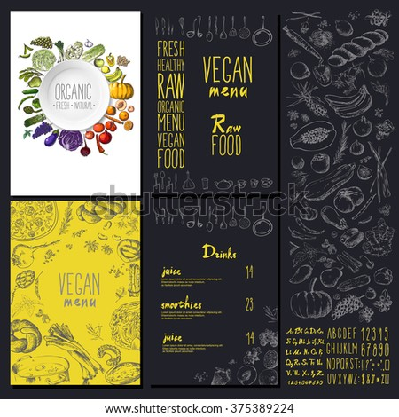 Restaurant organic natural vegan Food Menu Vintage Design with blackboard chalk style Vector set - stock vector