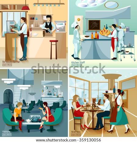 Restaurant Kitchen Illustration restaurant people 2x2 design concept set stock vector 359130056