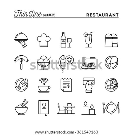 Restaurant, phone ordering, meal, receipt and more, thin line icons set, vector illustration - stock vector