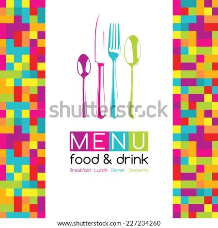 Restaurant Pop Art Pixel Menu Design - Food & Drink - stock vector