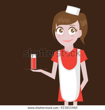 Restaurant Profession icons set. Cafe Profession for kids cartoon collection. Child Service Occupation Wateress girls. - stock vector
