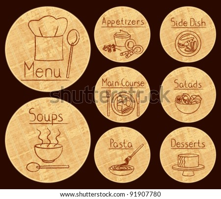 Restaurant related icons on round wooden background Restaurant food related icons on round wooden cutting board. - stock vector