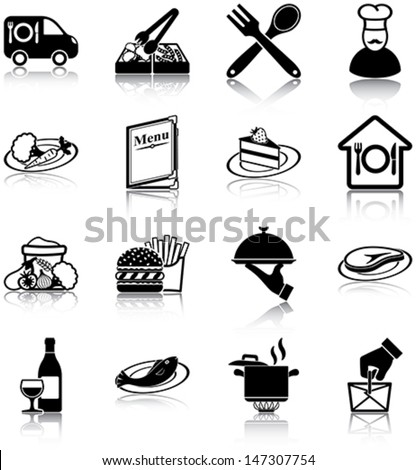 Restaurant related icons/ silhouettes. - stock vector