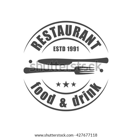 Restaurant round logotype with fork & knife silhouettes - stock vector