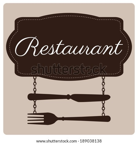 restaurant's menu design, signboard with knife and fork hanging  - stock vector
