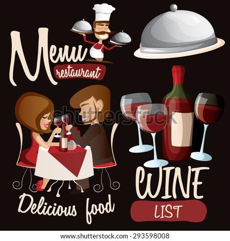 Restaurant set with wine, romantic couple, chef. Vector illustration - stock vector
