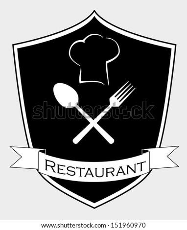 Restaurant shield. Vector Illustration - stock vector