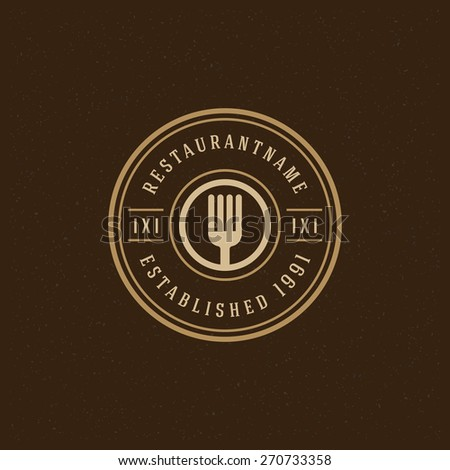 Restaurant Shop Design Element in Vintage Style for Logotype, Label, Badge and other design. Forks retro vector illustration. - stock vector