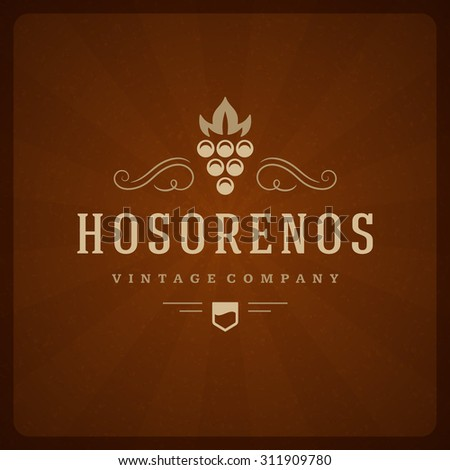 Restaurant Shop Design Element in Vintage Style for Logotype, Label, Badge and other design. Grapes retro vector illustration. - stock vector