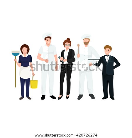 Restaurant team, man cooking chef, manager, waiter, cleaning woman.  - stock vector