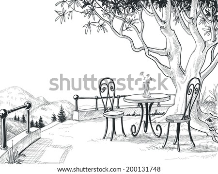 Restaurant terrace sketch - stock vector