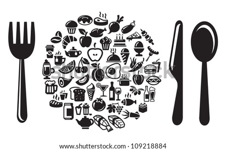 Restaurant, vector food and drink icons set - stock vector