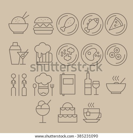 Restaurant Vector Icon Set, linear style of modern - stock vector