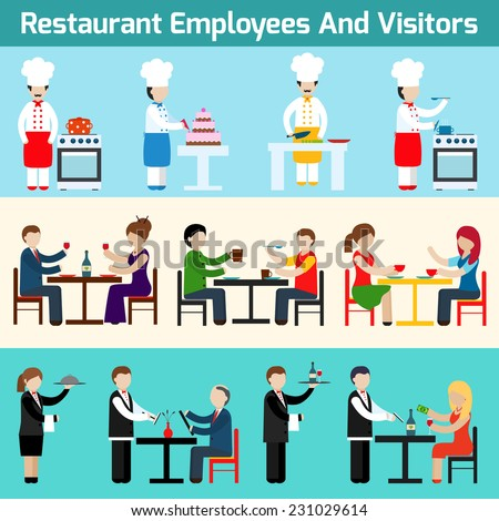 Restaurant waiters employees and visitors flat banner set isolated vector illustration - stock vector
