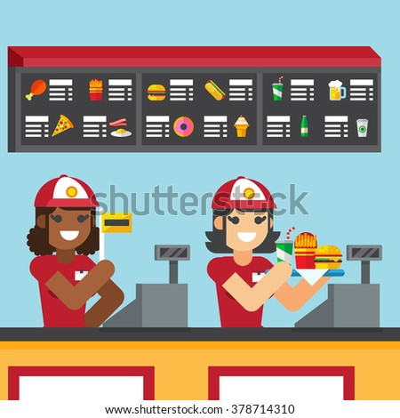 Restaurant workers serving fast food meals with smile. woman holding tray - stock vector