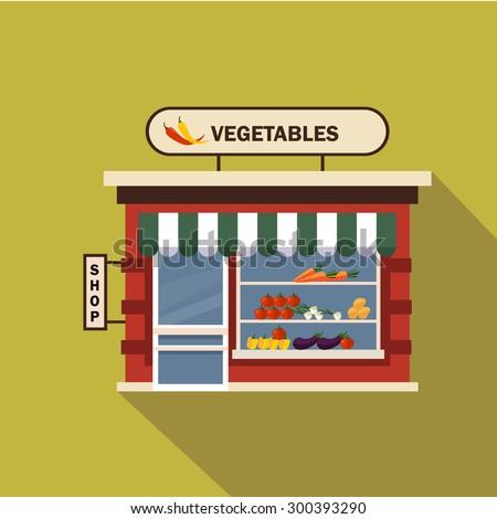 Restaurants and shops facade, storefront vector detailed flat design - stock vector
