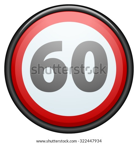 Restricting speed to 60 kilometers per hour traffic sign - stock vector