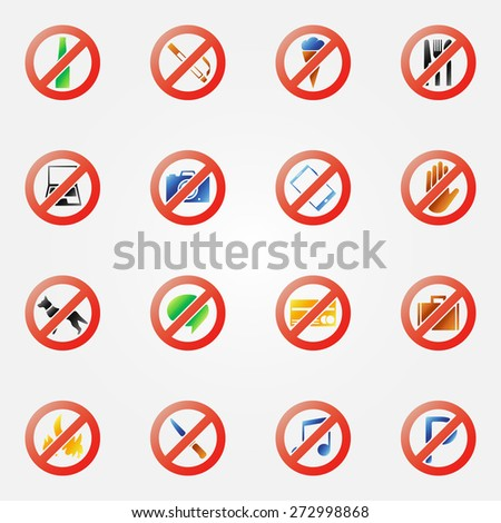 Restriction icons or signs - bright vector symbols set