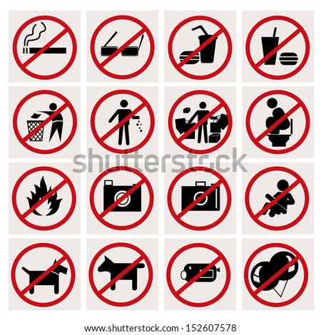 Restriction icons with White Background - stock vector