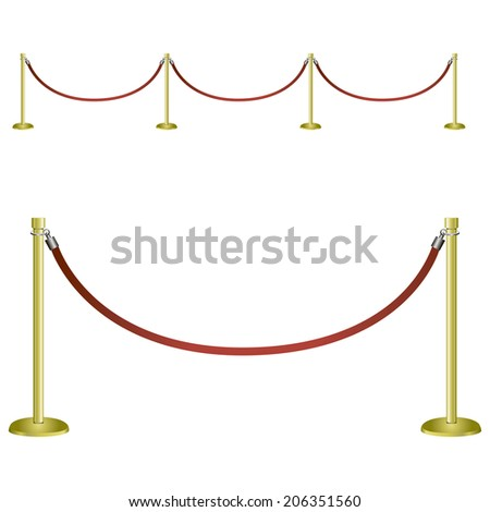 Restrictive barrier for social and festive events. Vector illustration. - stock vector