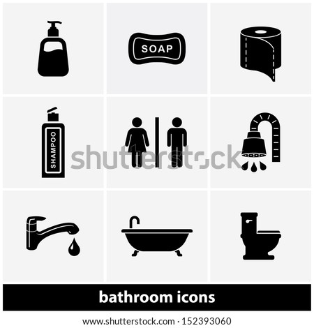 Restroom / Bathroom Icon Set - stock vector