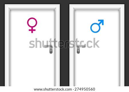 Restroom doors with gender symbols for man and women - stock vector