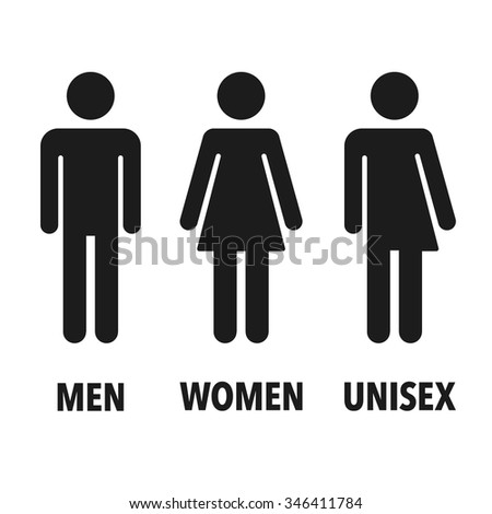 Restroom gender icons: man, woman and unisex. Isolated vector signs. - stock vector