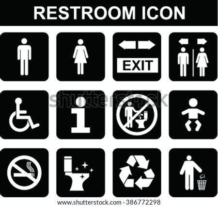 Restroom icons set on flat style