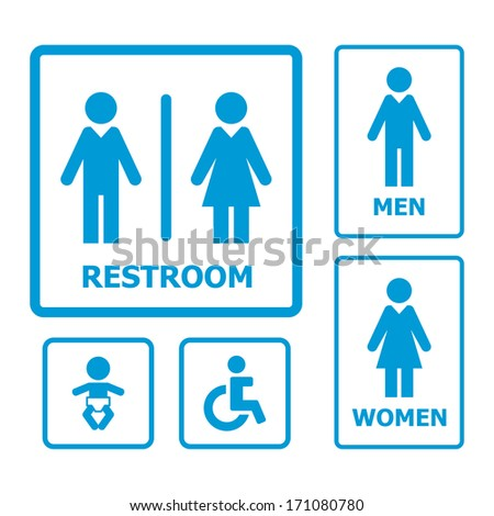 Restroom sign set - stock vector