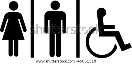 restroom signs on white background - stock vector