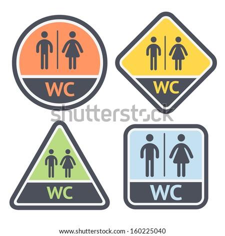 Restroom symbols set, flat signs retro color, vector illustrations - stock vector