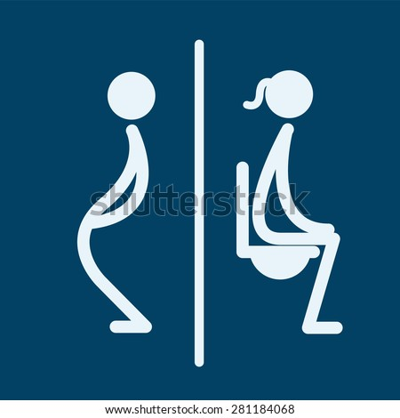 Restroom, toilet male and female sign vector illustration  - stock vector