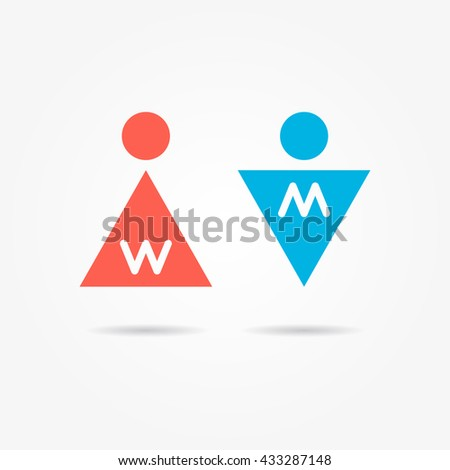 Restroom vector icons. Man and woman toilet icons. Gentleman and lady symbols. Isolated male and female wc symbols. Lavatory signs. Man and woman washroom symbols. - stock vector