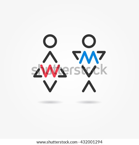 Restroom vector icons. Man and woman toilet icons. Gentleman and lady symbols. Male and female wc signs. Lavatory elements. - stock vector
