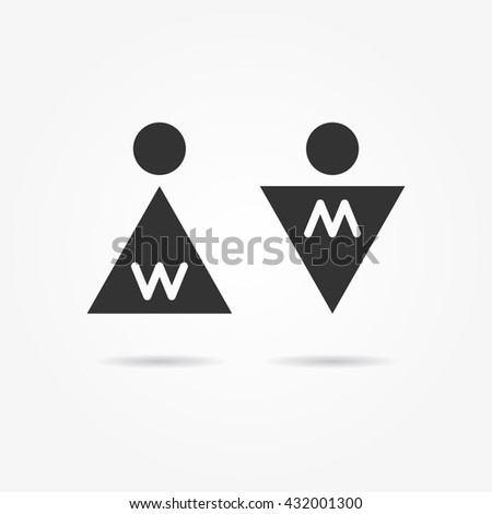 Restroom vector icons. Man and woman toilet icons. Gentleman and lady symbols. Men and women wc signs. Lavatory elements. - stock vector