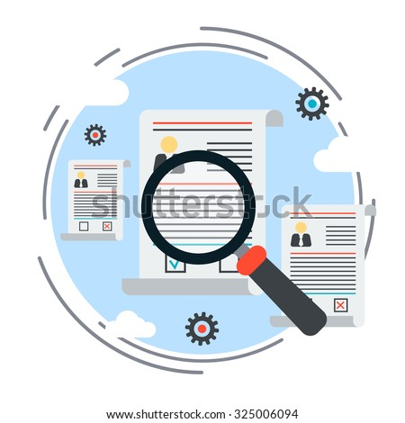 Resume analyzing, employment issue, staff search, personnel management, job search, recruitment flat design style vector concept illustration - stock vector